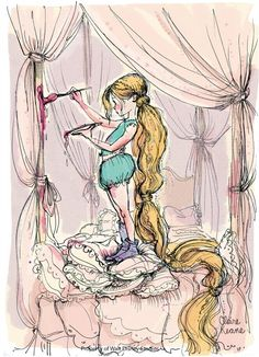 Rupunzel's earlier years | http://www.writershouseart.com/wp-content/gallery/claire-keane/002-young-rapz-painting.jpg
