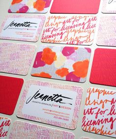 Business Cards for jeanettagonzales.com #businesscards #identity, #design, #logo, #handlettering, #lettering