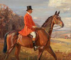 Portrait of Sir John F. Ramsden, Bt on his Bay Hunter 1913 by Sir Alfred Munnings