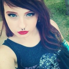 Septum Piercing with Red Lipstick.