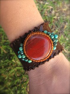 Leather Cuff Bracelet and Macrame Turquoise by PeaceofStoneStudio