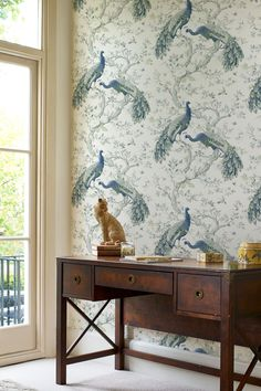 Classically ornate, Belvedere features elegant peacocks and timeless florals, it is serene and stately. All Laura Ashley wallpapers are printed in the UK and are paste the wall application; simply paste the wall, hang your paper, and leave to dry. For best results we recommend using Laura Ashley wallpaper paste.