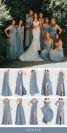 Shop for a large variety of dusty blue bridesmaid dresses at Azazie. With bridesmaid dresses from Azazie, you are sure to find a dusty blue bridesmaid dress for the perfect look for your wedding. Dusty Blue Bridesmaid Dresses, Dusty Blue Weddings, Bridesmaids And Groomsmen, Wedding Bridesmaids, Azazie Bridesmaid, Royal Blue Bridesmaids, Dusty Blue Dress, Prom Dresses, Formal Dresses