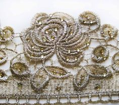 Antique Gold Lace Trim Victorian Style Embroidery by LaceEmporium, $8.99