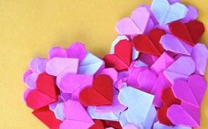 Corazones de origami