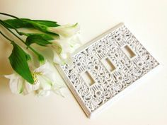 SOLD White Metal Triple Light Switch Cover // Art by BloomingGoddess, $29.50