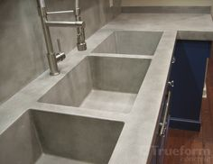 triple concrete sink