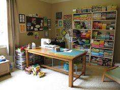 Modern Cozy: Where I Sew | table | storage | shelves | yellow | able | wood | laminate | open | wall storage | craft |
