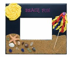 Beach Fun Craft Frame, love the sand at the bottom but maybe use foam sticker suns etc to make it kid friendly!
