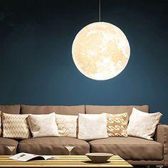 "Amazon.com: Gahaya 8"" Moon Pendant Lamp 3D Printing Ceiling Light 3200K 6500K E26 LED: Home Improvement"