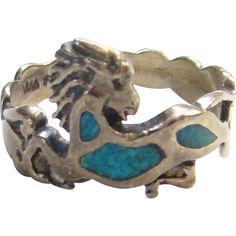 Southwestern WM Wheeler Turquoise Ring Chip Mosaic Size 7.75 Sterling