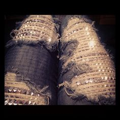 omg ripped studded sparkle jeans