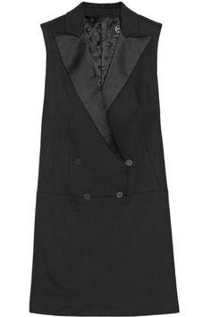 McQ Alexander McQueen|Satin-trimmed cady tuxedo-style dress|NET-A-PORTER.COM