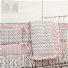 Pink and Gray Chevron Crib Comforter with Ruffle 250x250 image