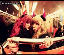 Inspiring picture fisheye lens, girls , gyaru, halloween, pose. Resolution: 640x430 px. Find the picture to your taste!