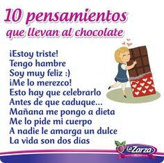 10 Pensamiento que te llevan al chocolate.