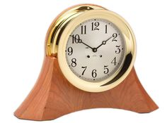 """Featured Product - Chelsea 6"""" Ship's Bell Clock, Brass on Moser Cherry Base"""