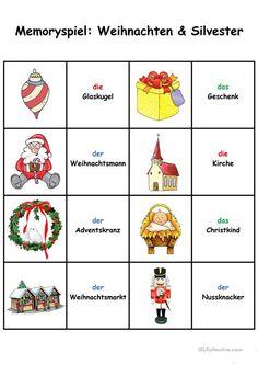 Spiele im Deutschunterricht: Memory - Weihnachten & Silvester
