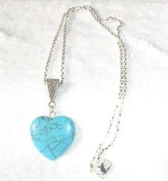 This Turquoise Heart Pendant is beautiful it has small black veins run through. It measures x And is on a Sterling Silver chain. 1950 Style, Sterling Silver Chains, Envy, Turquoise, Pendant Necklace, Jewels, Watches, Heart, Winter
