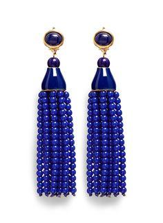 Kenneth Jay Lane | Beaded tassel drop clip earrings
