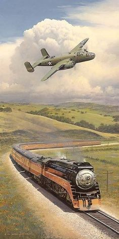 Beautiful Warbirds — Mitchell with an old locomotive. U Bahn Station, Train Station, Train Tracks, Train Rides, Train Posters, Train Art, Old Trains, Train Pictures, Aviation Art