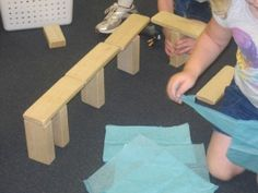 Building Structures with the Three Billy Goats Gruff.  Add tissue paper and goats to block area to allow students to retell.