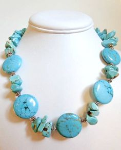 Beaded Necklace  Turquoise and Bali Sterling by kitscreations, $85.00