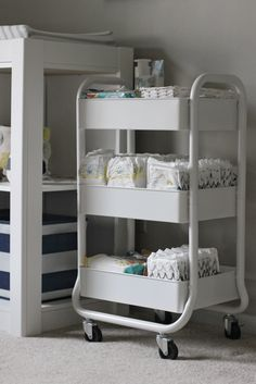 Nursery Organization - Tiered White Cart