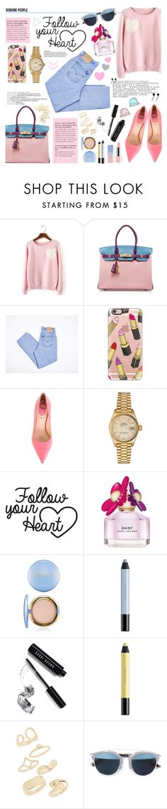 """""""Follow your heart"""" by diesnatalis ❤ liked on Polyvore featuring Hermès, Levi's, Casetify, Fendi, Rolex, Marc Jacobs, shu uemura, Bobbi Brown Cosmetics, Topshop and Christian Dior"""