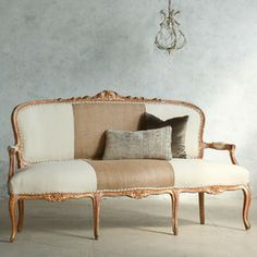 Eloquence One of a Kind Vintage Settee Louis XV Worn Gold Gilt