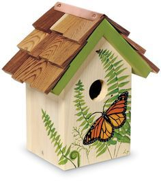 Bird House Plans 115967759141304170 - Handpainted Monarch Birdhouse (Product Detail) Source by Decorative Bird Houses, Bird Houses Painted, Bird Houses Diy, Painted Birdhouses, Bird House Plans, Bird House Kits, Bird House Feeder, Bird Feeders, Birdhouse Designs
