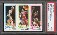 1980 Topps Larry Bird Magic Johnson Rc Rookie Card Psa 7 Clean No Marks Looks 8 Magic Johnson, Johnson And Johnson, Football And Basketball, Basketball Cards, Bill Cartwright, Larry Bird, Team Leader, Boston Celtics, Rebounding