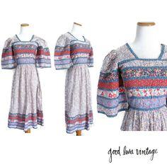 Hippie Dress 70s Patchwork Quilt Festival Ethnic Gunne Sax Style Prairie Folk…