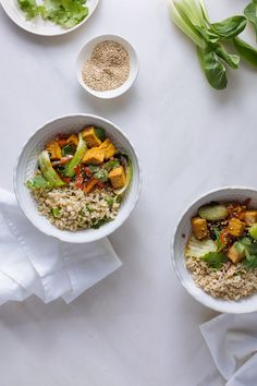 Healthy Asian sesame tofu with pak choi & brown rice | Asian inspired vegan bowl recipe | gluten-free, dairy free, no refined carbs | Easy prep | We deliver all the pre-portioned ingredients needed to make our dinners in under 30 minutes