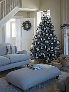 Blue Mountain Spruce Christmas Trees Happy New Year Blue Christmas Tree Decorations, Spruce Christmas Tree, Silver Christmas Tree, Christmas Tree Design, Christmas Mantels, Cozy Christmas, Xmas Tree, Beautiful Christmas, Holiday Decor