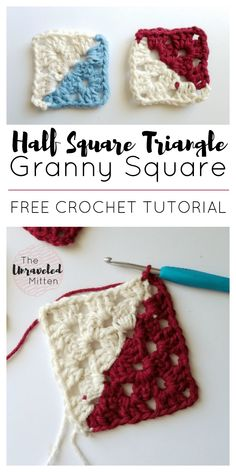 Half Square Triangle Granny Square Free Crochet Tutorial Step by Step Instructions The Unraveled Mitten Crochet Afghans, Crochet Quilt, Crochet Blocks, Crochet Stitches, Crochet Patterns, Crochet Cushions, Crochet Pillow, Afghan Patterns, Blanket Crochet