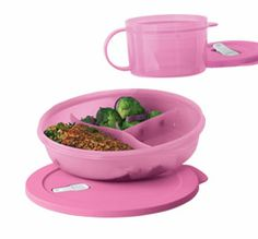 Tupperware Pretty in Pink CrystalWave(r) Lunch Set  ~ Divided Dish (Dinner plate sized) and Soup Mug!!  $18  http://my2.tupperware.com/ronya