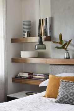 Lovely contemporary headboard and bedside shelf design. Bedroom Shelf Design, Shelves In Bedroom, Home Decor Bedroom, Bedroom Wall, Wall Shelves, Bedroom Divider, Storage Shelving, Shelving Units, Storage Units