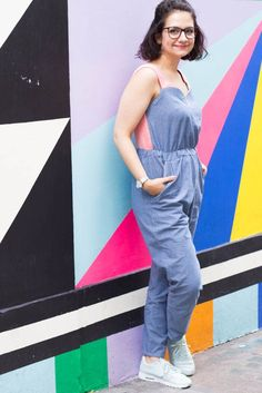 Selmin's chambray Marigold Jumpsuit - sewing pattern from Tilly and the Buttons