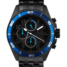 Men's Aubert Freres Corrigan Men's Chronograph Sport Watch Quartz... (195 BRL) ❤ liked on Polyvore featuring men's fashion, men's jewelry, men's watches, black, jewelry & watches, mens watches jewelry, mens quartz watches, mens chronograph watch, blue dial mens watches and mens oversized watches