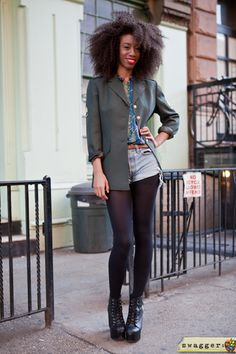 Military inspired jacket, Shorts over tights, and Spiked Jeffrey Campbell shoes