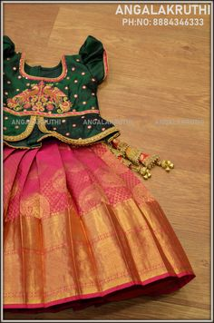 baby girl for kids pattu pavada - Baby patta pavada - Kids Outfit Kids Gown Design, Baby Dress Design, Baby Girl Lehenga, Kids Lehenga, Baby Frocks Designs, Kids Frocks Design, Frocks For Girls, Dresses Kids Girl, Baby Dresses