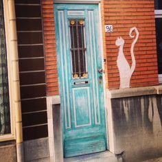The weathered door, the watchcat! I like its' shape.