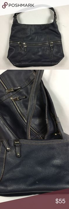 Tignanello blue shoulder bag one strape leather Beautiful leather bag great condition only has a few very small scratches the inside looks like new has a lot of storage Tignanello Bags Shoulder Bags