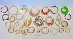 Lot 26 Pairs Vintage - Modern Fashion Boho Jewelry HOOP Earrings, Silver Gold