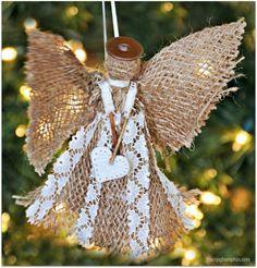 diy christmas ornament, angel Burlap Christmas Ornaments, Christmas Bells, Christmas Angels, Christmas Crafts, Christmas Decorations, Birthday Decorations, Xmas, Candy Cane Ornament, Angel Ornaments