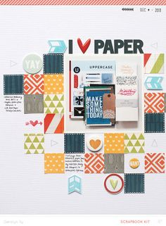 I ♥ Paper *Main Kit Only* by qingmei at @Studio_Calico *faux stitching with a white pen on dark paper*
