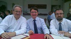 Christian Ude, Tim Weidner und Albert Thurner in Penzberg