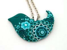 Polymer Clay Sleepy Bird Floral Pendant Necklace by MemecoShop on Etsy