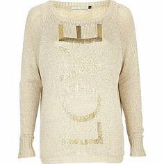 beige foil love print jumper - jumpers - jumpers / cardigans - women - River Island